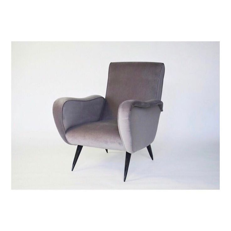 """This rare Italian MCM armchair was designed by Enrico De Angeli circa 1954. We reupholstered it in cotton velvet and legs were refinished in black stain. At Avventura Modern we call it a """"Tulip Chair"""" because of the petal like lines and stem-like legs. The shape inspired the soft lilac color of the upholstery.      #interiordesign #interiors #interior #interiordesignideas #interiorinspiration #interiorinspo #instadecor #instadesign #interiordesign #interiordesigner #design #homedecor…"""