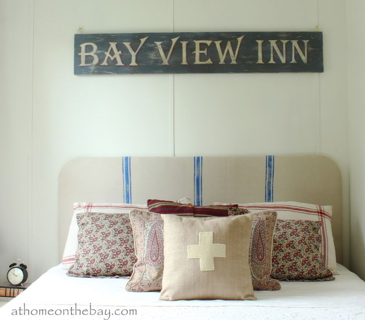 How to make your own Vintage Sign via At Home on the BayGuest Room, Decor Ideas, Cottages Bedrooms, The Bays, Living Room, Vintage Signs, Diy Headboards, Old Signs, Diy Vintage