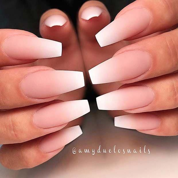 Matte French Ombre Coffin Nails Ombrenails In 2020 Coffin Shape Nails Best Acrylic Nails Acrylic Nails Coffin