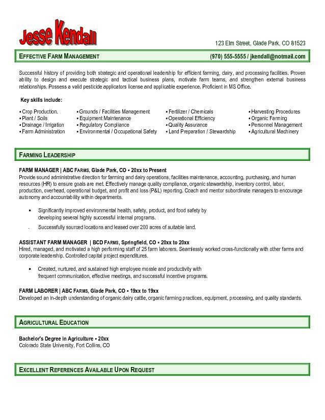 Farm Manager Resume