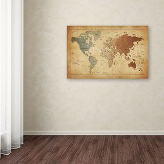 """Welcome guests into your home with this unique canvas art. """"Time Zones Map of the World"""" by Michael Tompsett showcases global time zones using a natural color scheme that complements its faded canvas,"""