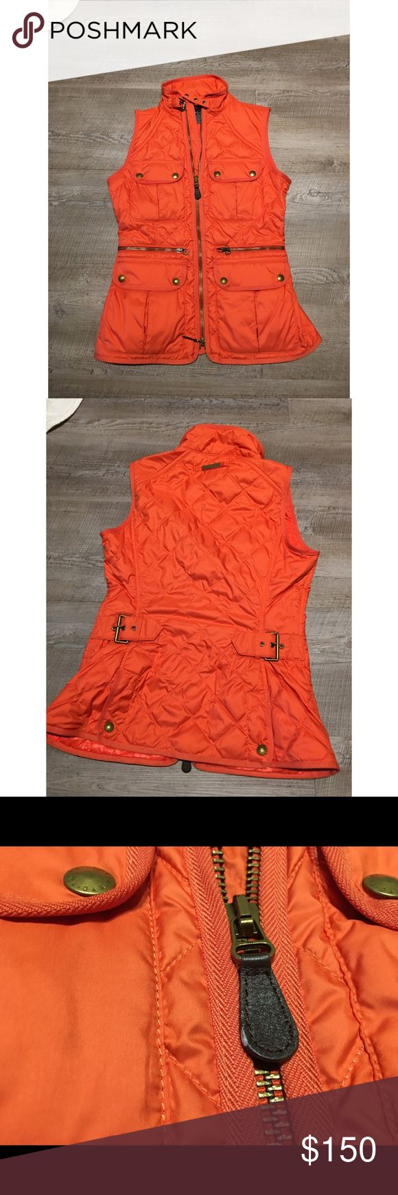 Ralph Lauren sport Quilted equestrian vest jacket ✨(❁´◡`❁) ωḙℓḉ✺Պḙ (❁´◡`❁)✨          🦋Description:        •Beautiful bright pumpkin orange Quilted fabric     •4 pockets on front     •Zip up     •Adorable buckles      •Very comfy, sexy fit.        ✨          🦋Brand: Ralph Lauren           🦋Size: Small (women's)          🦋Condition: Excellent preowned shape. No holes or stains. Worn once           (please refer to all photos Don't hesitate to ask ANY and ALL question before Bidding/Buying)…