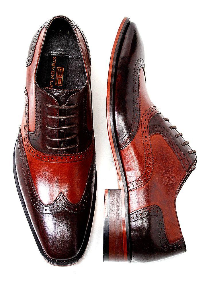 Steven Land Mens Cognac Brown Wingtip Leather Lace Shoe - SL100