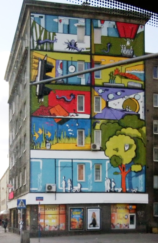 Brightly painted building in Warsaw, Poland.