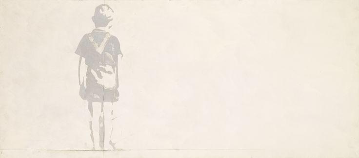 Giosetta Fioroni (N. 1932), Bambino, firmato, intitolato e datato 68 sul retro, olio e vernice argento su tela, cm 80x180. Eseguito nel 1968.
