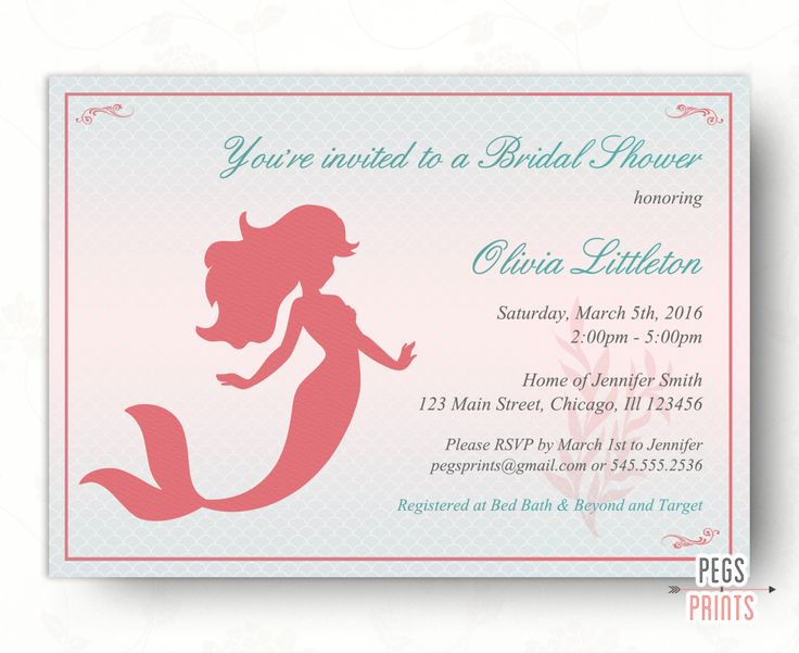 Printable Mermaid Princess Bridal Shower Invitation - Mermaid Bridal Shower Invitation - Fairytale Bridal Shower Invitation - Birthday Coral by PegsPrints on Etsy