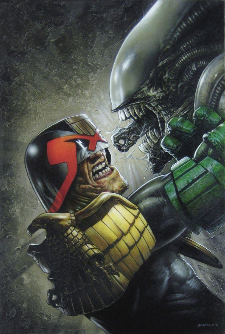 Judge Dredd vs Alien by Greg Staples