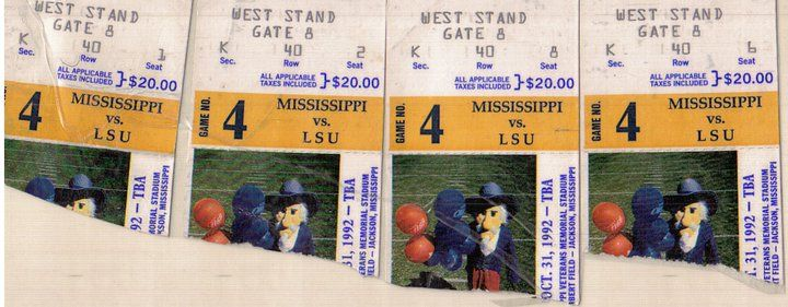 These Ole Miss/LSU tickets I have saved for nearly 23 years now. They have sentimental meaning for me, but not for the reason you may think. Sure, Ole Miss beat LSU pretty bad that year 32-0, but t...