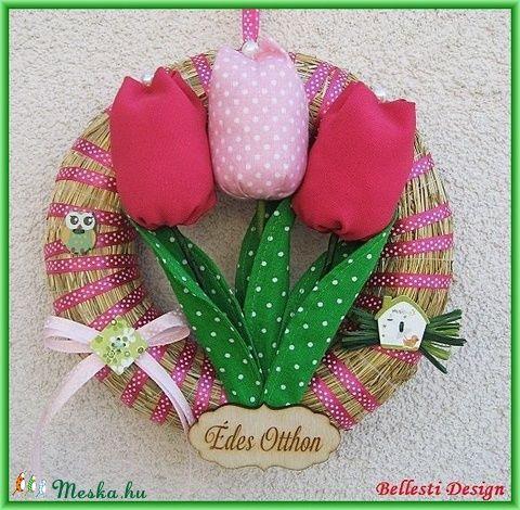 Tavaszi, nyári, húsvéti ajtódísz, kopogtató - tulipános (BellestiDesign) - Meska.hu