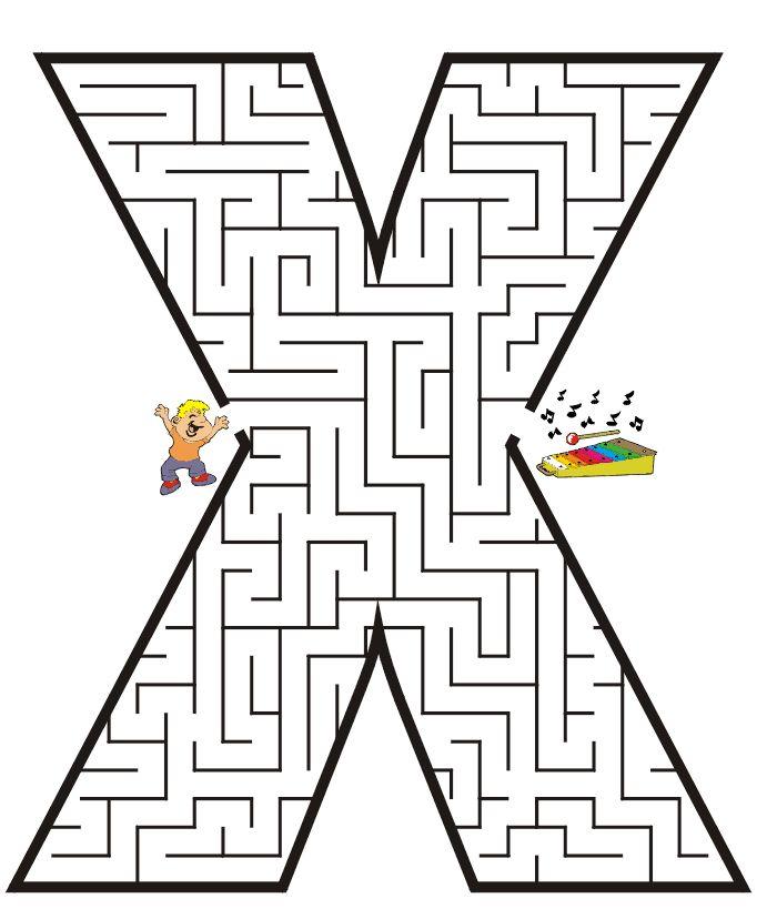 Printable Maze for Kids   Uppercase Letter X