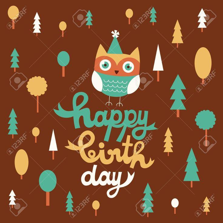 счастливы дизайн сова открытка на день рождения. Клипарты, векторы, и Набор Иллюстраций Без Оплаты Отчислений. Image 20633114.