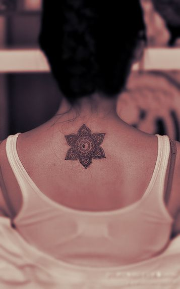 Buddhist style lotus inspired tattoo on a back - #design