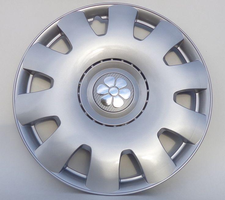 "VW Beetle 16"" Silver Daisy Flower Hub Caps Set of 4"