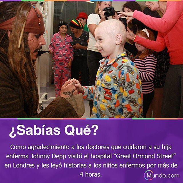 Un bello gesto #jacksparrow #niños #niñosconcancer #laborsocial #gestonoble #johnnydepp #famosos #sabiasque #datocurioso #interesante #curiosidades #datointeresante #datos #mundo #mundopuntocom