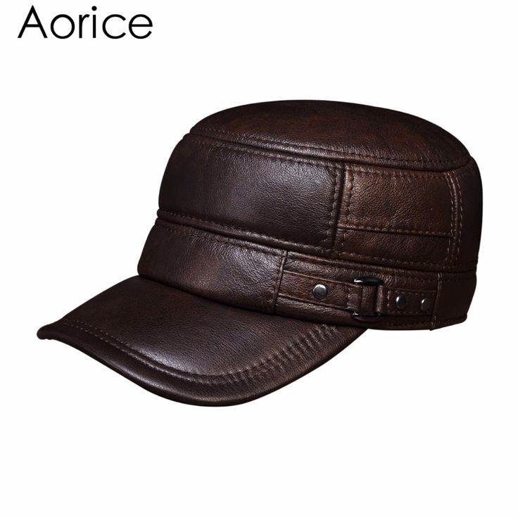 HL064 Men's genuine leather baseball cap hat brand new spring real cow leather  beret caps hats