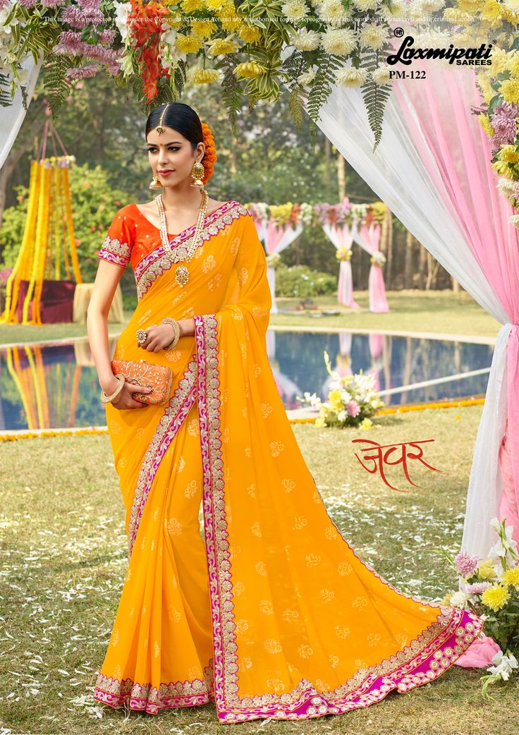 Buy this 👌 Laxmipati Yellow #Georgette Foil Work # Embroidery_Saree and Orange #Bhagalpuri Silk Blouse along with Fancy Lace Border Online from www.laxmipati.com. We deliver all over the world like #USA, #UK, #Canada, #Australia, #Dubai, #Malaysia, #Mauritius, #Pakistan, #Bangladesh, #Nepal, South Asia ... Ready to 🚢Ship Fashionable Embroidery #Georgette_Saree for Women 👩. #Catalogue- Zever, Design Number- 122 Price -₹ 3325.00 🛒Shop now @ bit.ly/2