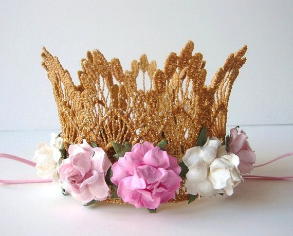 Baby Gold Lace Crown  Pink and Ivory Flowers by fabflowerheadbands