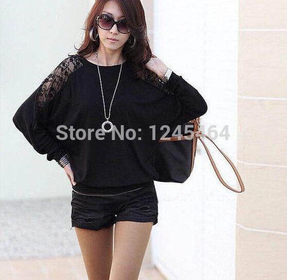 plus size free shipping bat long sleeve sweater blouses 2014 women fashion new Autumn sexy loose O-neck shirt chemise femme