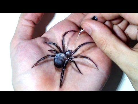 Hand Art 3D, Hideous Spider Drawing! - YouTube