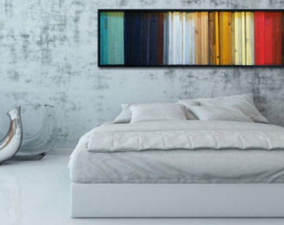"""Pared moderna de madera arte - """"degradado"""" de madera de rayas en rojo, amarillo, marrón, verde azulado - escultura de la pared de madera reciclada - arte abstracto de madera"""