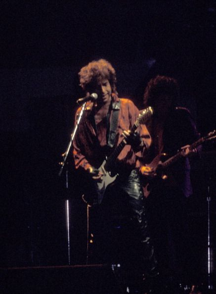 Bob Dylan during Bob Dylan in Concert at Madison Square Garden in New York City July 16 1986 at Madison Square Garden in New York City New York...