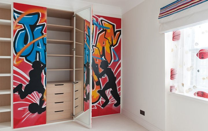 Graffiti designed children's storage.