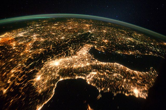 Central and Eastern Europe at Night (NASA, International Space Station, 10/02/11) by NASA's Marshall Space Flight Center, via Flickr