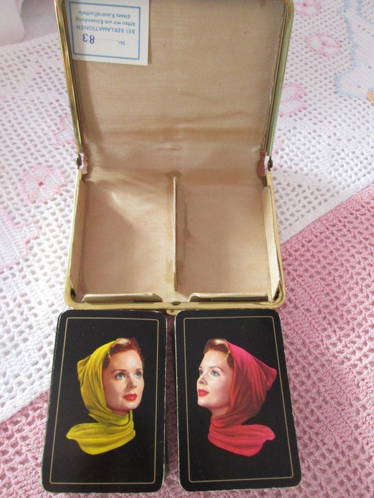 Porte-cartes  à jouer double  de voyage  / vintage/ancien/1950 de la boutique Roselynn55 sur Etsy