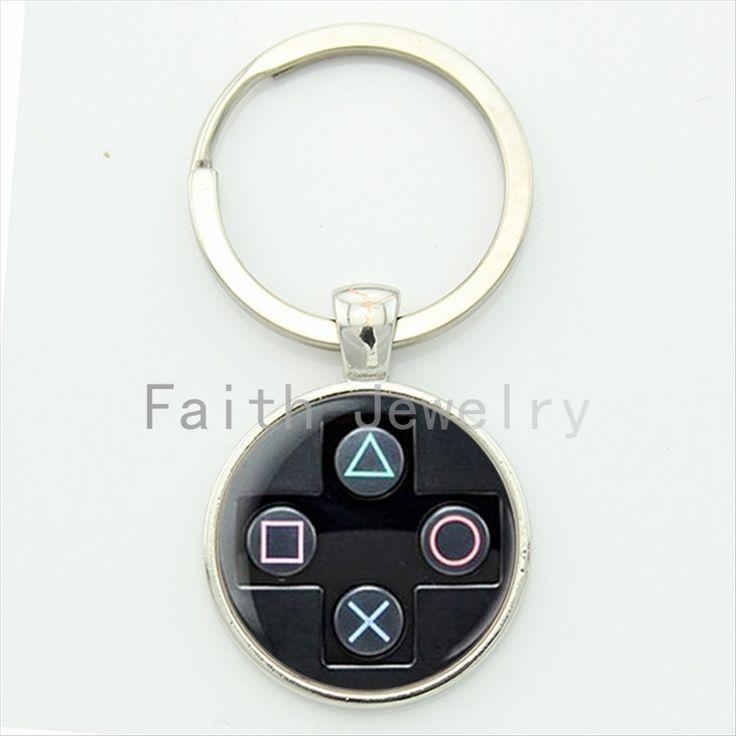 Playstation controller key chain geeky boyfriend perfect gift idea jewelry video game controller pattern keychain KC184