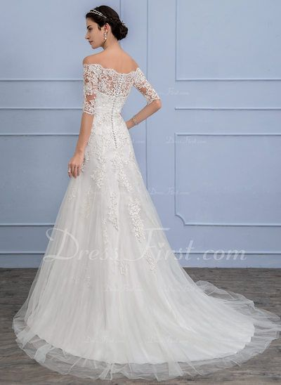 db32869e A-Line/Princess Off-the-Shoulder Court Train Tulle Wedding Dress With Beading  Sequins (002106074) - DressFirst