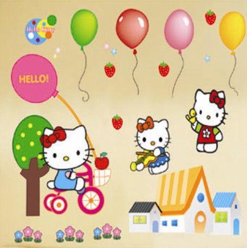 Бесплатная доставка Новые дешевые съемные дети спальня декор hello kitty стены стикеры 3d смешно настенные надписи для chidlren