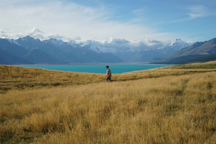 Where's he running to? This is a great action shot from Mia Byrne, who travelled on a 'Rimu' on New Zealand's South Island in February. Lake Pukaki and New Zealand's tallest mountain, Aoraki/Mt Cook in the background here.#adventuretravel#activeadventures#newzealand#hiking#photography