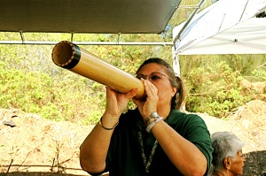 The Pu Ohe is a Hawaiian bamboo trumpet. It has a deep sound  somewhat like a conch shell and like other native instruments, takes the special spirit breath to produce the proper sound. In old Hawaii it would have been used to call to one another across long distances. Today you will hear it when chants are being performed.