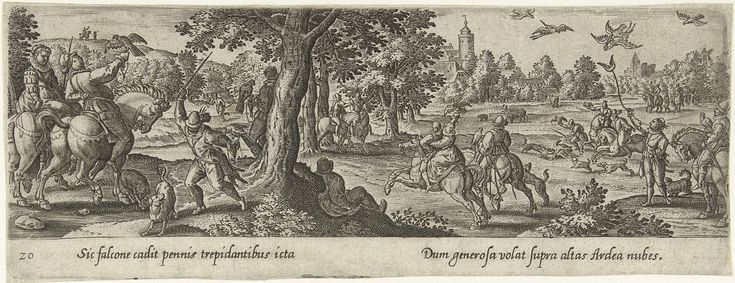 Hans Bol | Valkenjacht, Hans Bol, Theodoor Galle, 1582 | Ruiters jagen op reigers door middel van de jachtvalk. De prent heeft een Latijns onderschrift en maakt deel uit van een serie van 54 prenten.