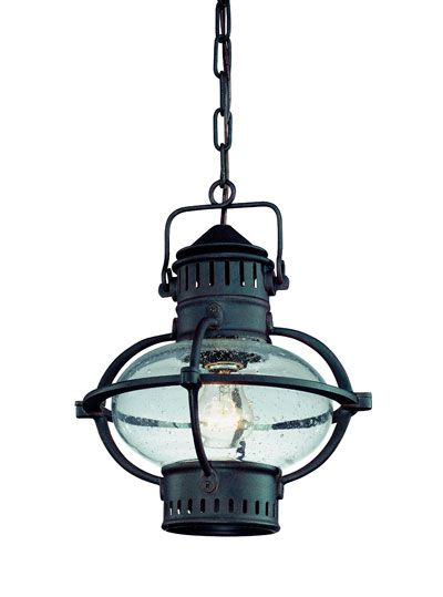 Portsmouthe Exterior Pendant, Boston Bronze with Rust Accents, Clear Seeded Glass