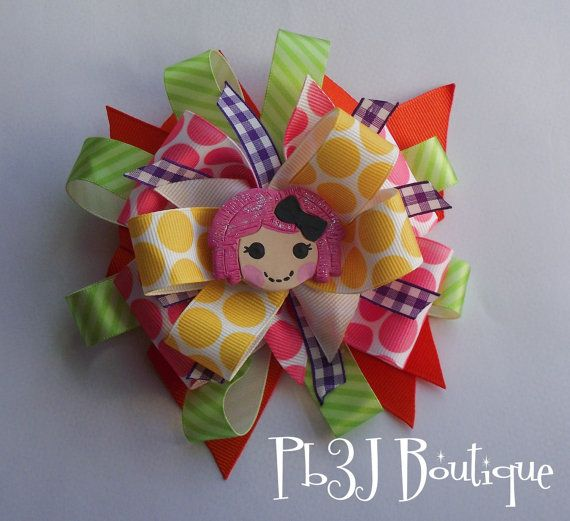 Girls Hair Bow Clip Large Pageant Style With Crumbs by pb3j, $13.00