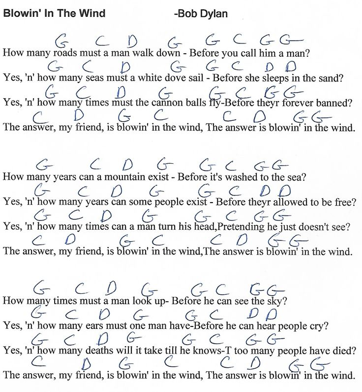 Blowing in the Wind (Bob Dylan) - G Major - Guitar Chord Chart - http://i0.wp.com/www.youtube.com/munsonmusiclive | Lyrics and chords. Song lyrics and ...