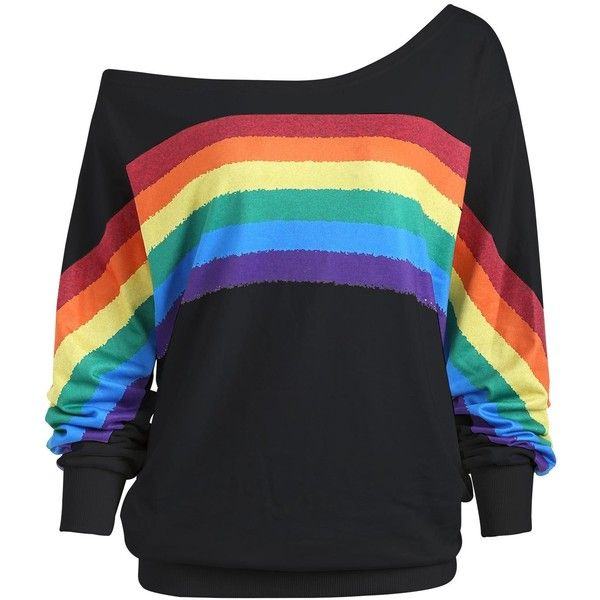 Print Rainbow Plus Size One Shoulder Top ($18) ❤ liked on Polyvore featuring tops, womens plus size tops, rainbow plus size tops, one sleeve top, one shoulder tops and mixed print top