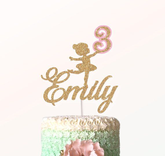 Personalised Age /& Name Glitter Birthday Fairy Cake Topper Kids Girls Decoration