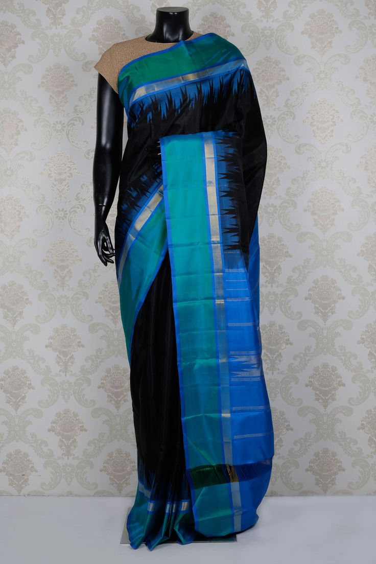 #Black pure #kanchipuram silk mesmeric #saree with aqua blue & #gold border -SR14130