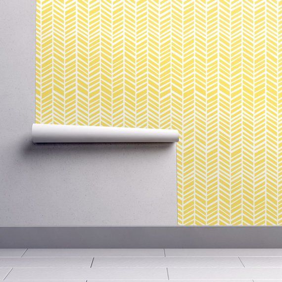 Herringbone Wallpaper Herringbone Lemon Yellow By Friztin Etsy Herringbone Wallpaper Self Adhesive Wallpaper Peel And Stick Wallpaper