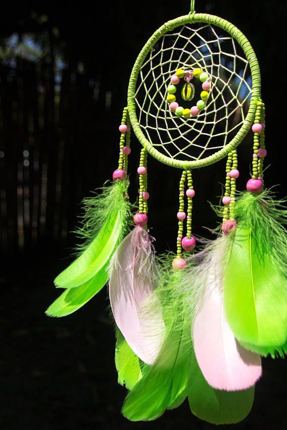 Dreamcatcher, Green Authentic Dream Catcher, Small Dreamcatcher, Native America Inspired Dreamcatcher, Rustic Wall Hanging