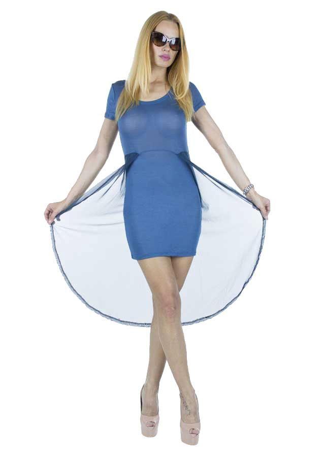 Rochie Dama Summer Sensation  Rochie dama ce poate fi usor de accesorizat. Model indraznet cu taietura moderna.  Detaliu - plasa de aceeasi culoare in spate.     Latime talie: 36cm  Lungime fata: 77cm  Lungime totala: 111cm  Compozitie: 80%Poliester, 20%Bumbac