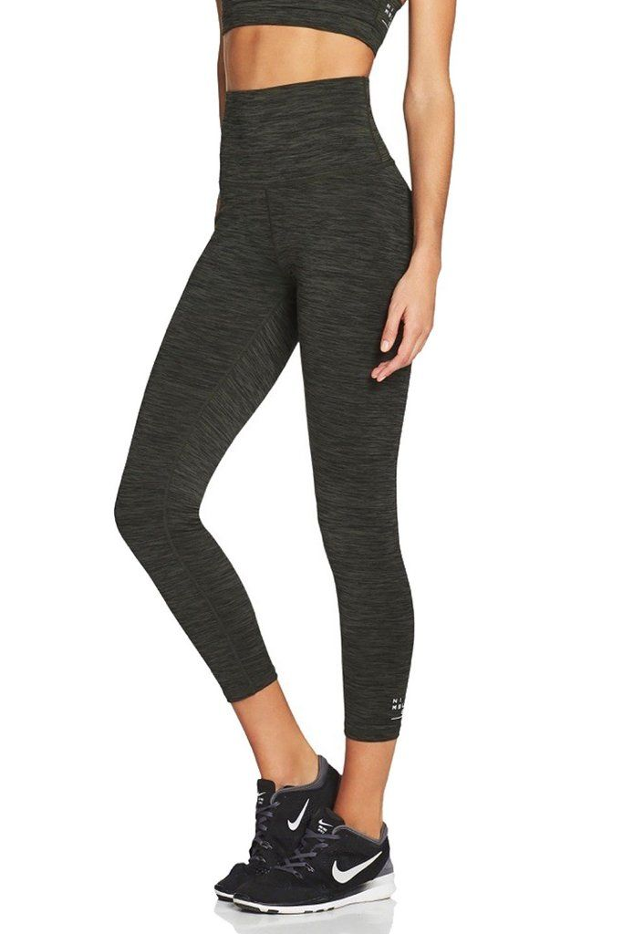 854e7ec2689bf High-waisted workout leggings or yoga tights in 7/8 length and light grey.  Our butter soft, four-way stretch fabric and wide waistband makes this  tight the ...
