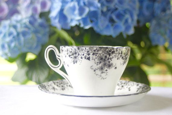 Vintage Shelley Black Tea Cup and Saucer in by treasuresfromtheuk