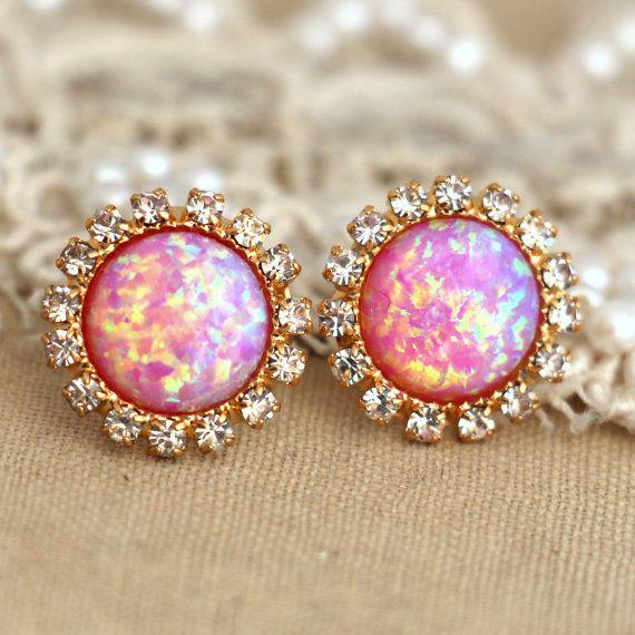 Pink Opal stud earrings with white rhinestones, bridesmaids jewelry,wedding earrings, fashion jewelry - 14k gold plated swarovski earrings