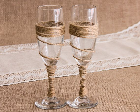Rustic Wedding Toasting Glasses Twine Wedding by ThatLittleOldShop