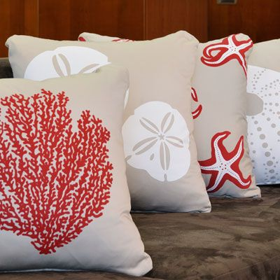 Shore Collection organic cotton throw pillows are classic accents for coastal living @Wabisabi Green.  #coastalpillow #beachpillow #nauticalpillow