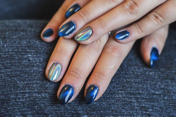 NeoNail ragamuffin cat eye hybrid nails, Neonail 3D holo effect