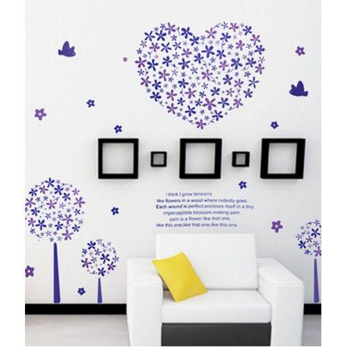 Virágzó fák szívvel, felirattal, madarakkal, falmatrica